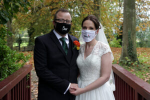 bride and groom with face masks during 2020 pandemic - wedding photographer bedfordshire